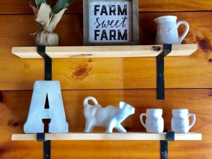 farmhouse open style shelving