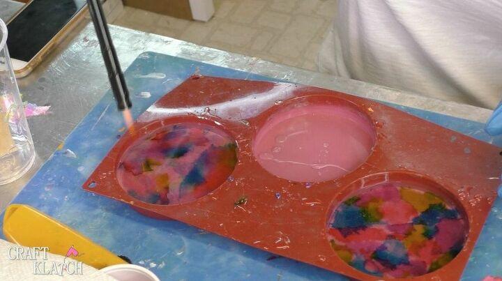 toilet paper tie dye resin coasters