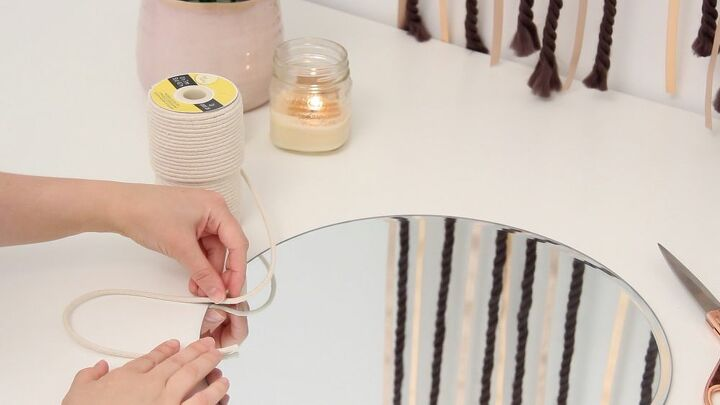 diy rattan style mirror using rope