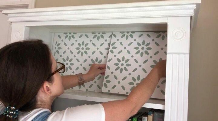 adding a raised stencil design to your bookcase