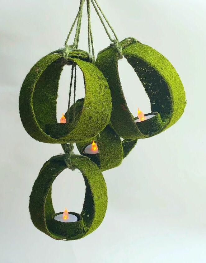 hanging moss orb lanterns