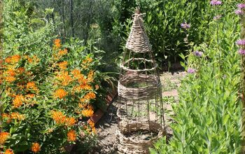 Wicker-style Garden Obelisk From a Tomato Cage!