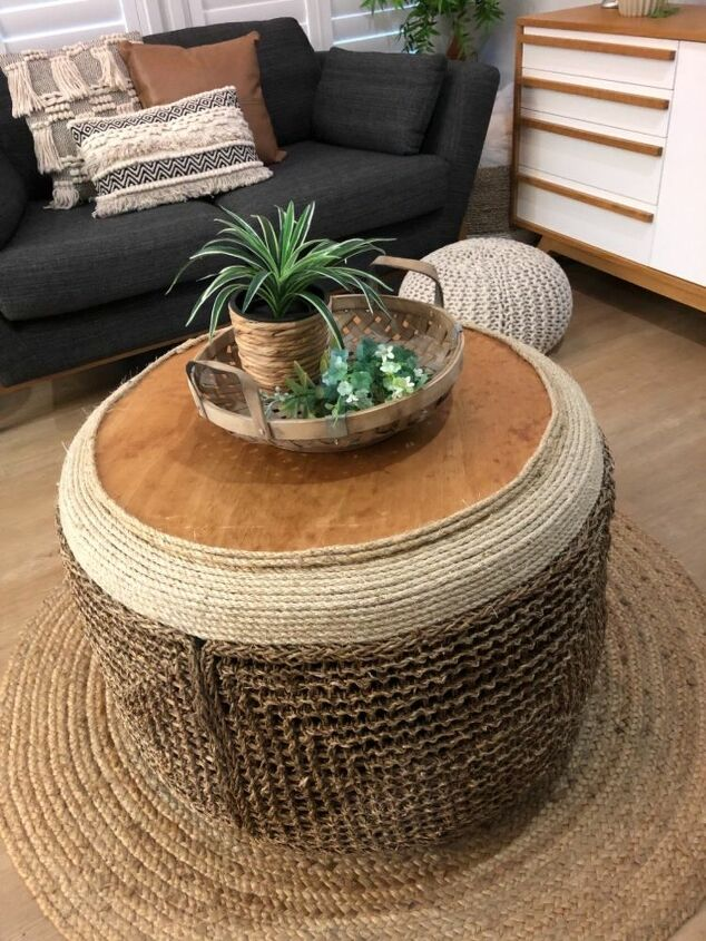 DIY Seagrass Tire Coffee Table