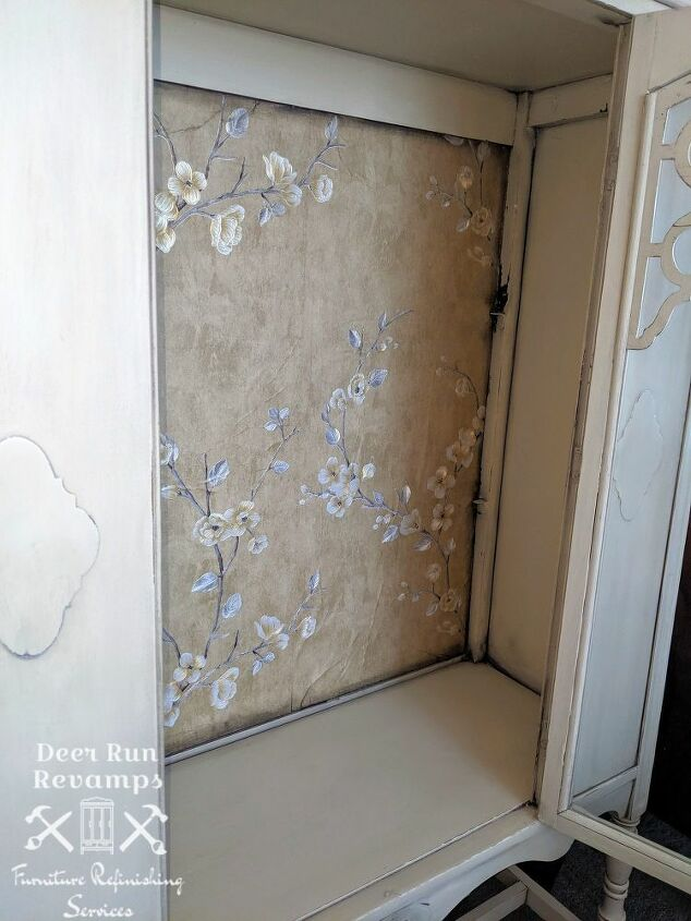 how to update an antique cabinet with contact paper and chalk paint
