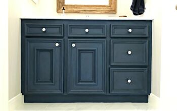 Blue Chalk Paint & Dark Wax Vanity Makeover