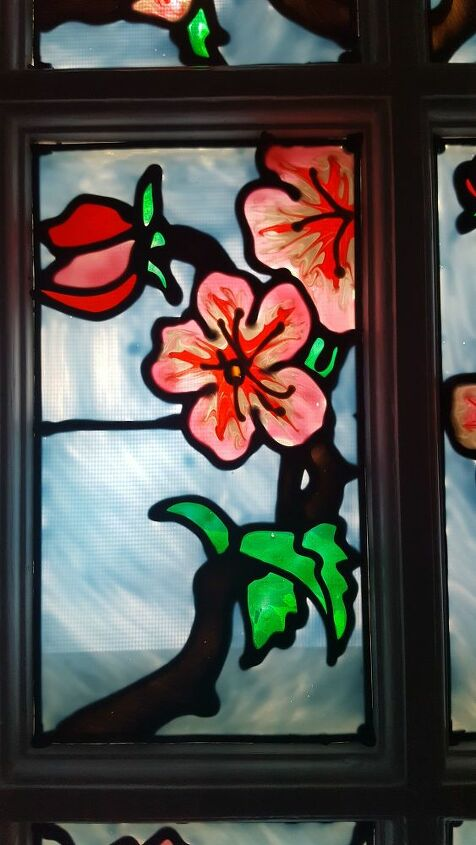 stained glass faux barn doors