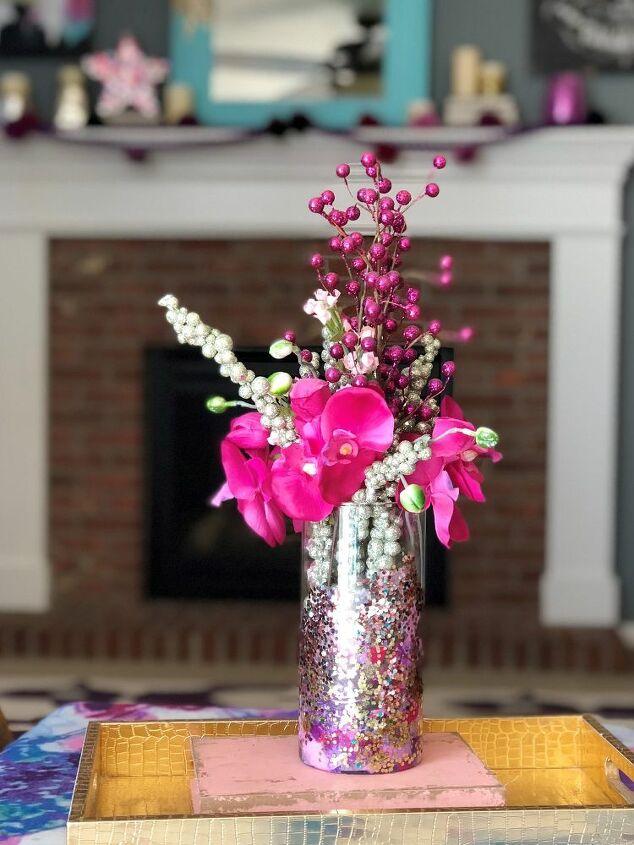 diy glass glitter vase