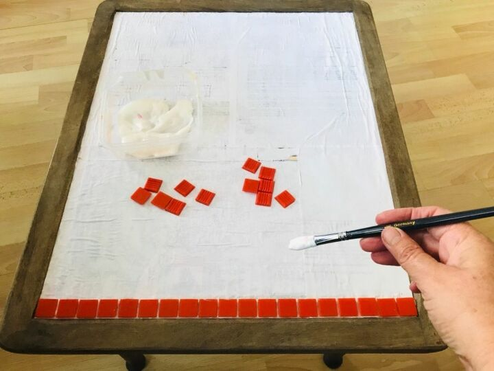 Sticking vitreous glass tiles to table top