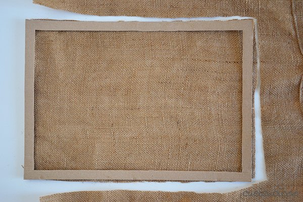 upcycled picture frame and burlap earring display