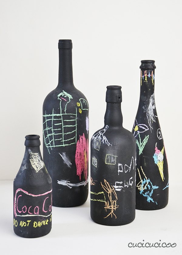 chalkboard wine bottle vase flowers with personalized messages