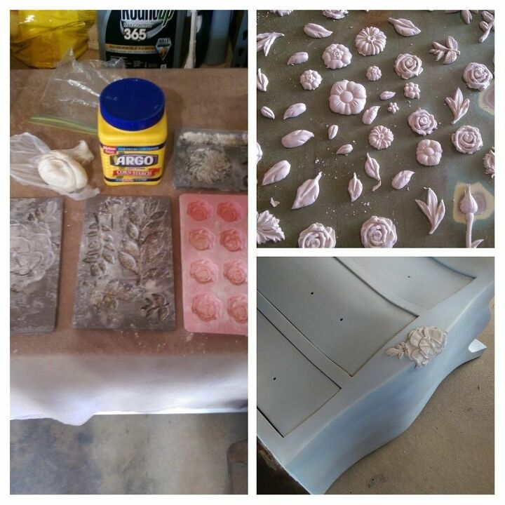 how to update a dresser using resin and paper clay molds