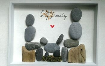 Family Portrait Created With Pebble Rocks