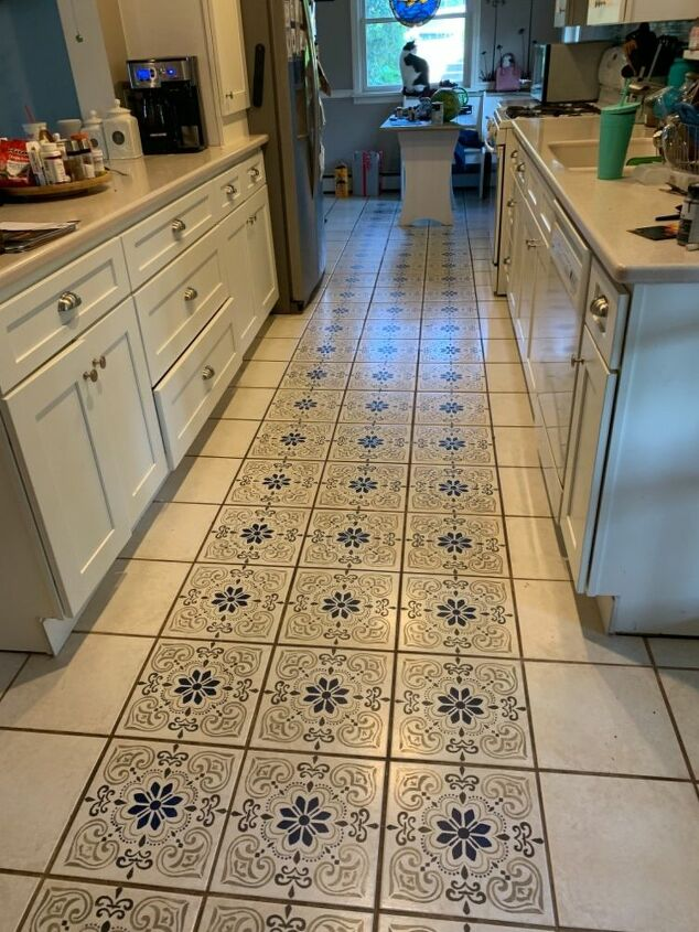 How To Paint A Stenciled Kitchen Floor Diy Hometalk