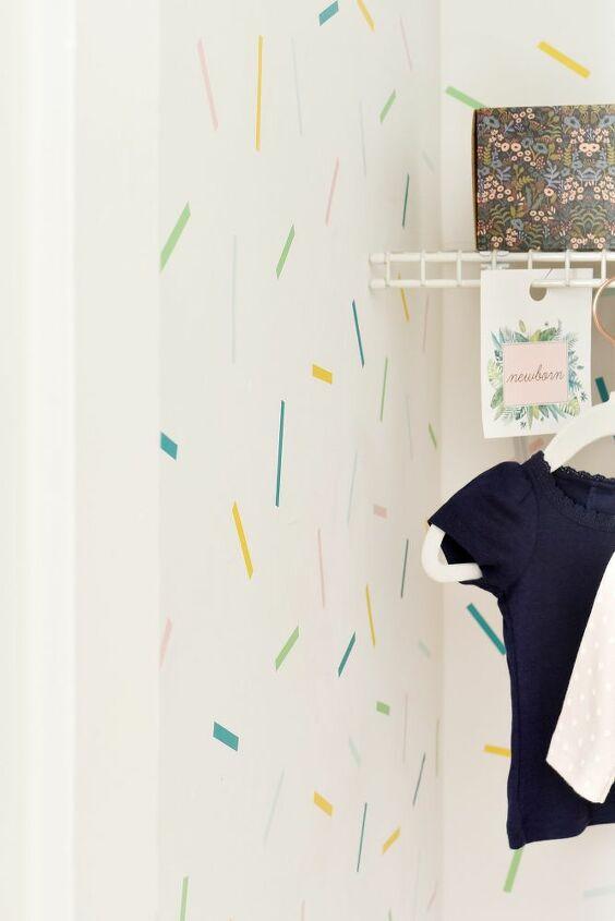 accent wall idea diy confetti washi tape closet
