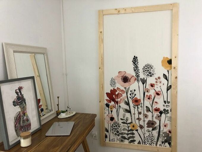 how to make a large art piece out of a shower curtain