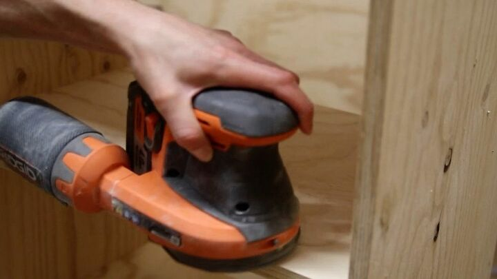 Sanding the shelf