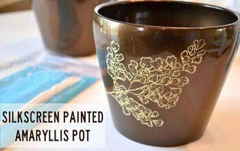 Silkscreen Painted Amaryllis Pot