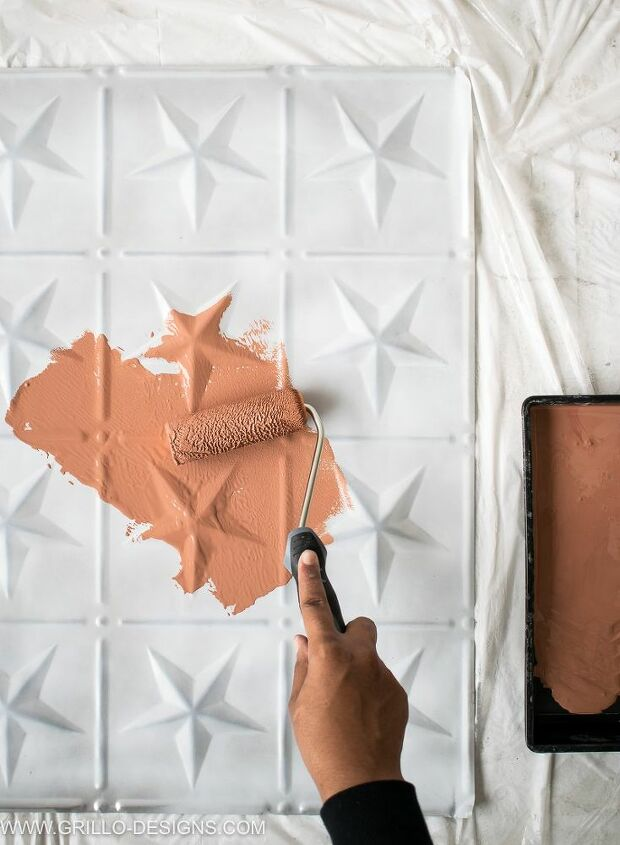 diy faux tile feature wall