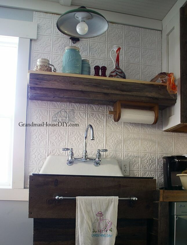 replacing my barnwood shelf with two open shelves above my kitchen sin