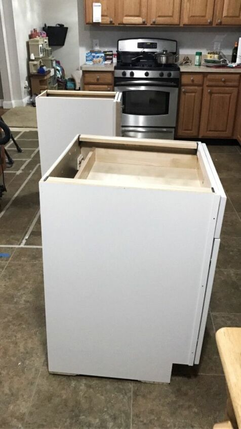 diy kitchen island with stock cabinets