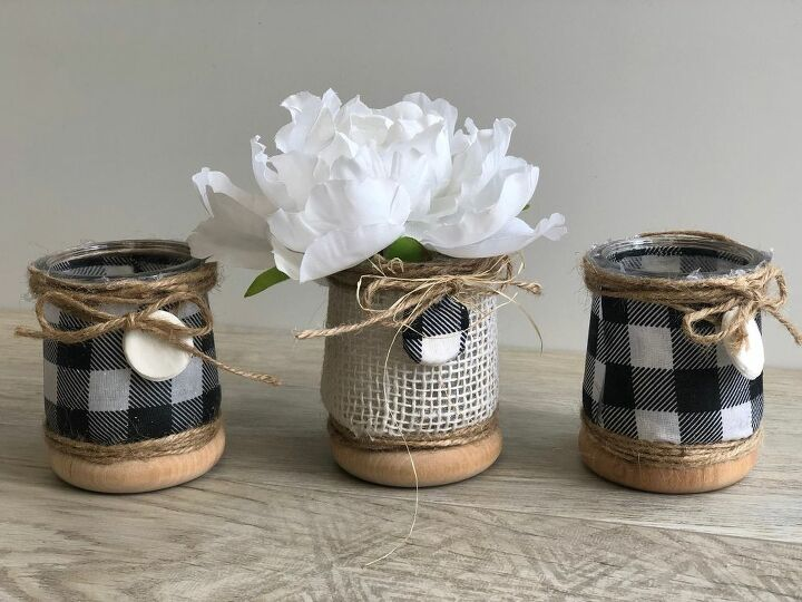farmhouse style rustic candle stand from wood scraps diy