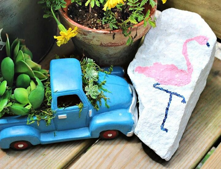 how to make a pink flamingo painted garden rock