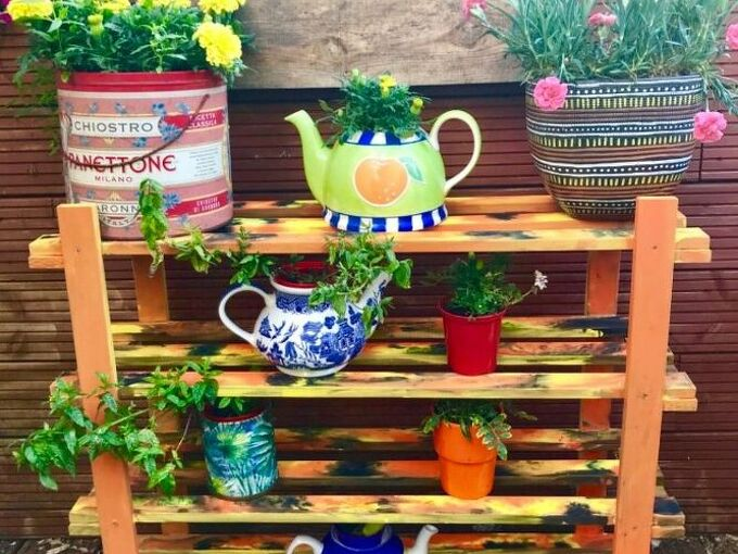 how to turn your old shoe rack into garden plant display unit, Unicorn spit gel stain plant stand rack
