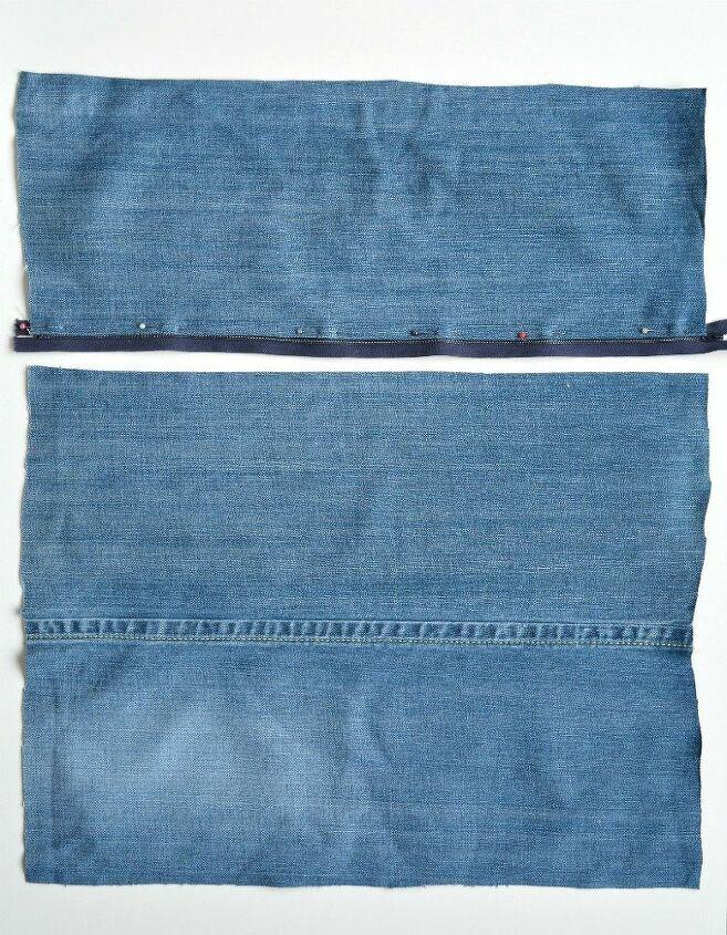 denim chevron rag cushion