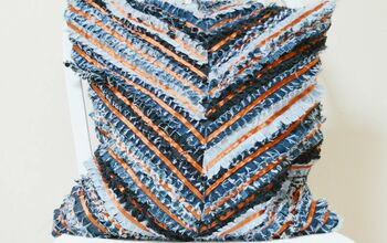 Denim Chevron Rag Cushion