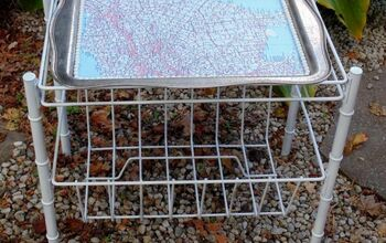 DIY Decoupaged Map Silver Tray Table