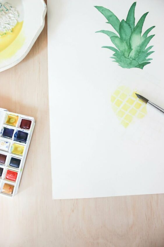 how to paint a pineapple in watercolor