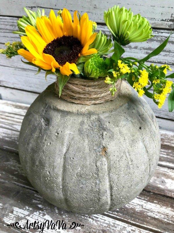 concrete pumpkin vase