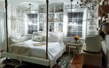 Hanging Bed, Faux Brick Guest Room Remodel