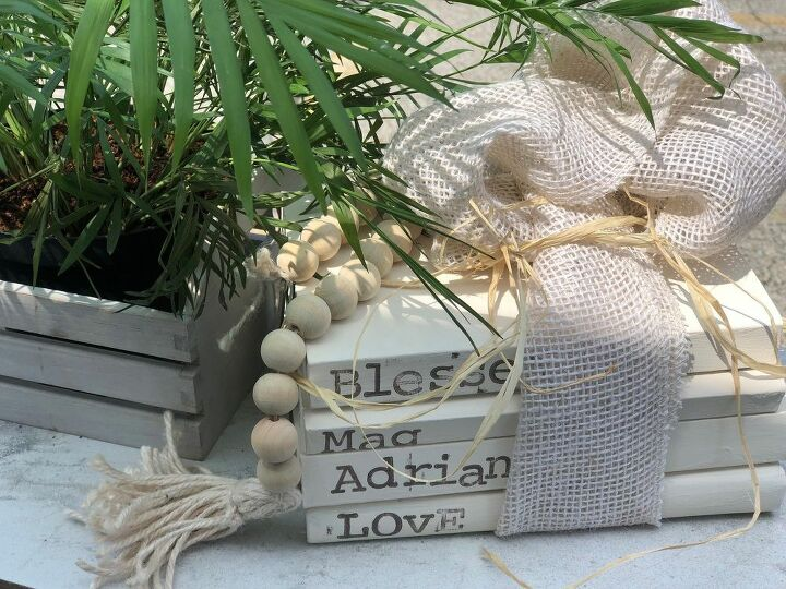 farmhouse stamped book stacks diy