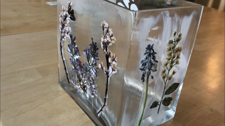 upcycled vase with pressed and preserved flowers