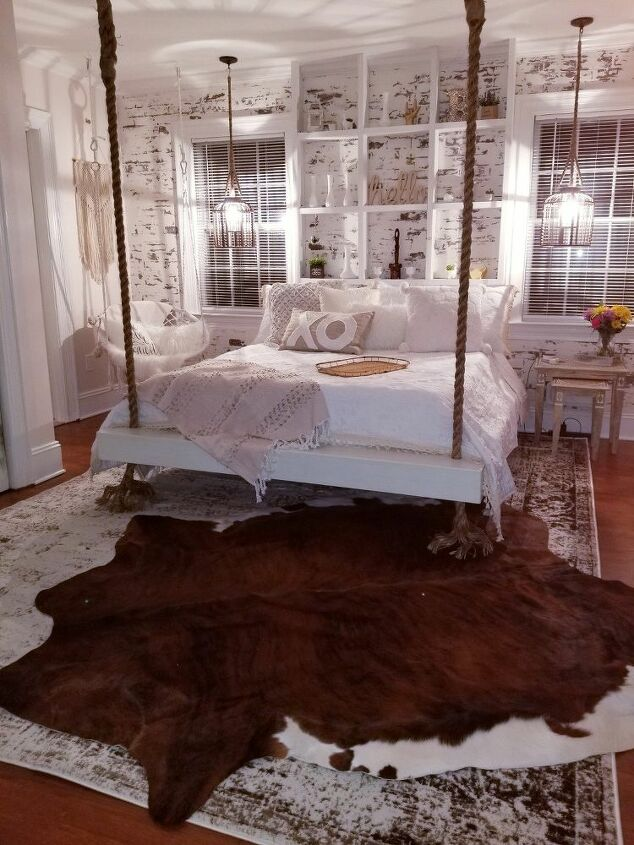hanging bed faux brick guest room remodel