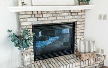 Whitewashing and Updating Brick Fireplace