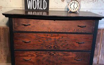 Stenciled Wood Dresser