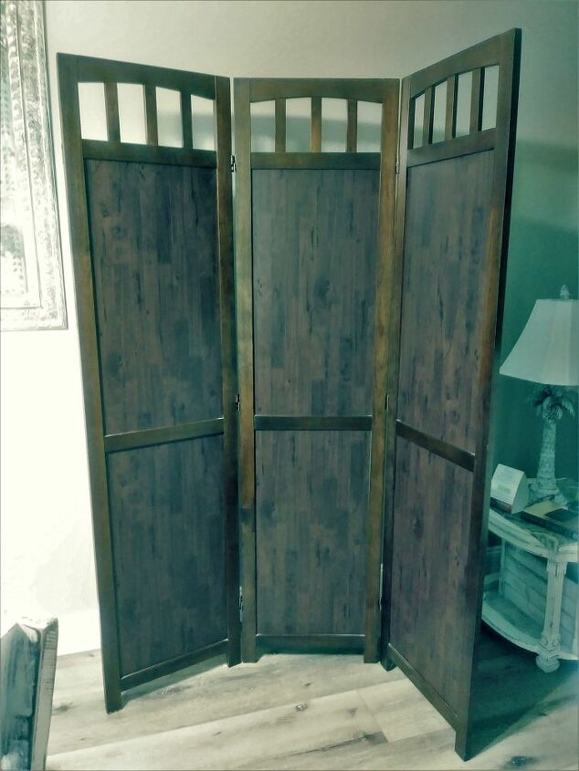 chalk painted texture casting room divider makeover