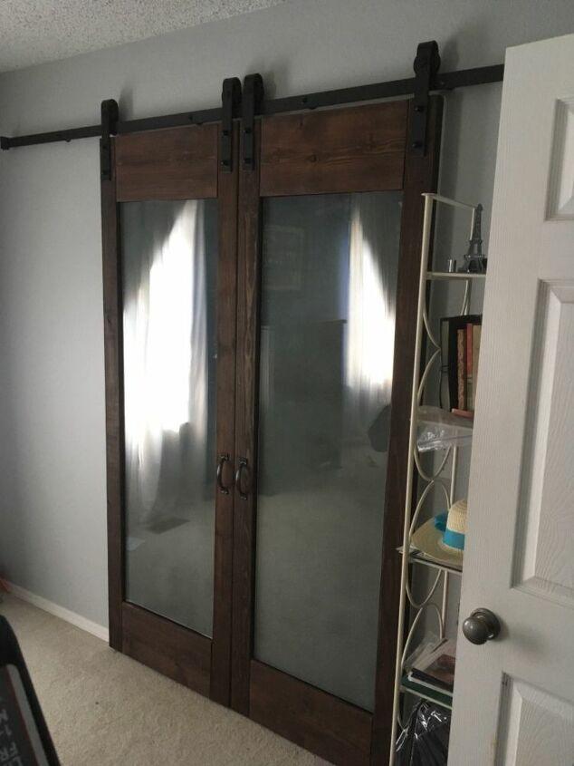 diy sliding barn doors using glass from old patio doors