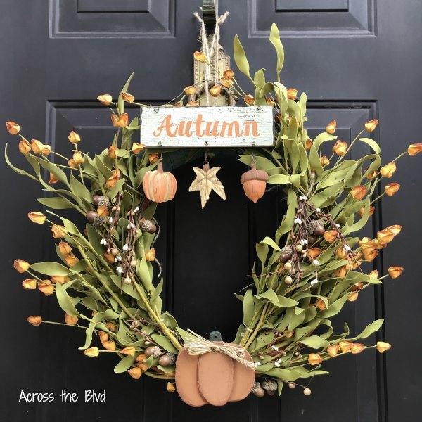 golden blooms fall wreath
