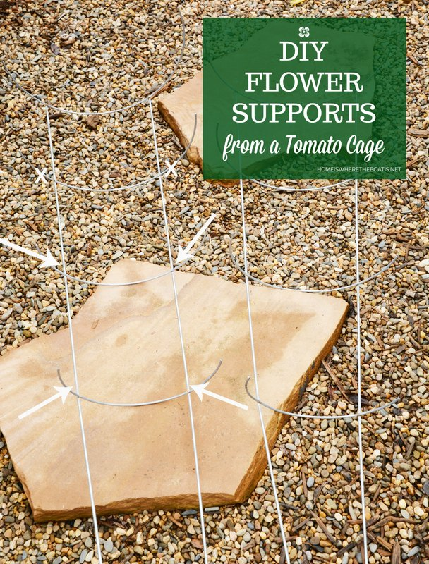 diy flower supports from a tomato cage