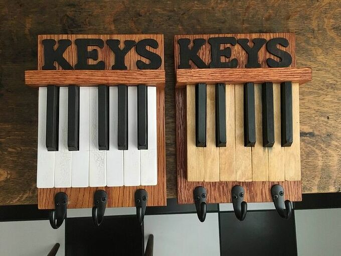 repurposed piano keys, Painted and birch veneered sets