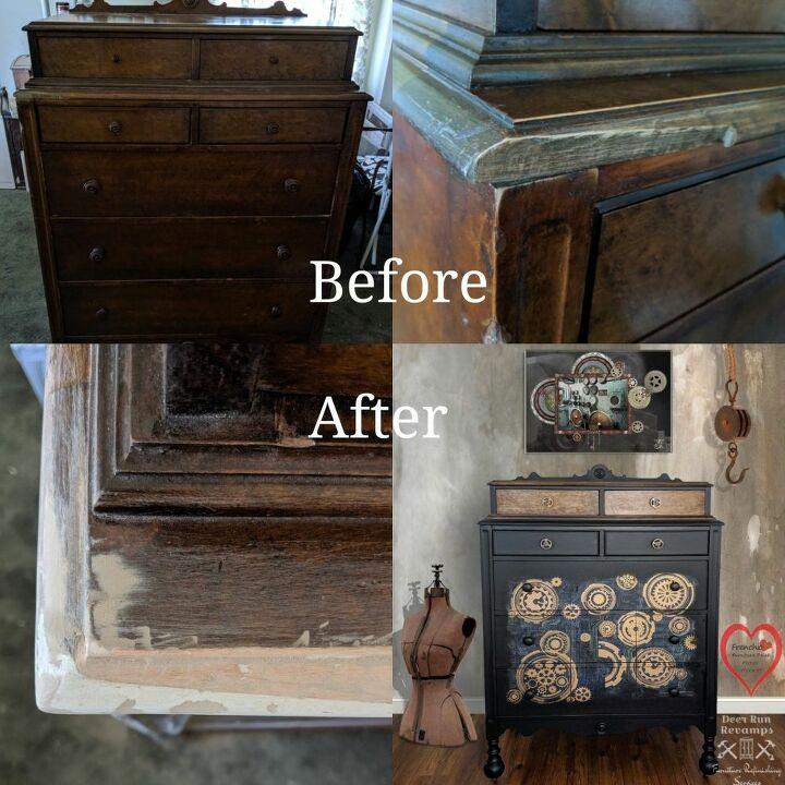 repair a chipped corner on a dresser using hot glue oil and bondo