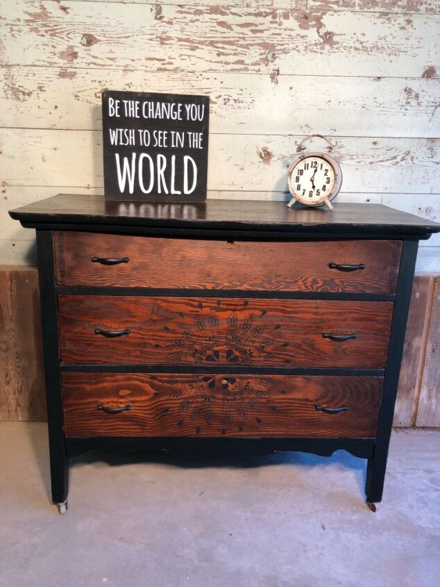s weekenddiy 15 easy awesome projects you can do this weekend, Stencil an old dresser to give it a new look