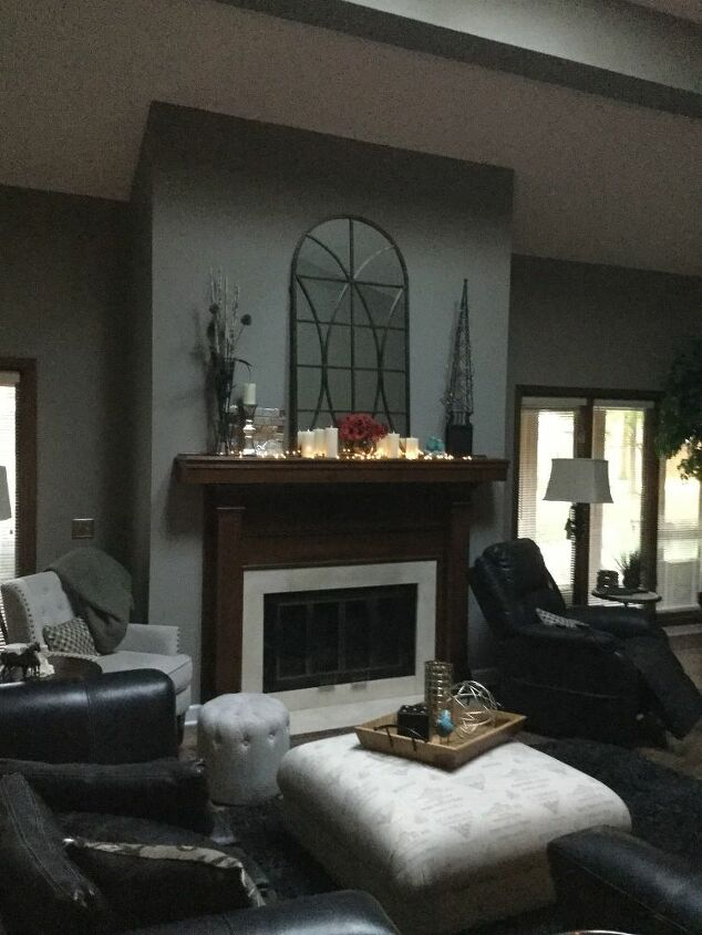q how can i update our mantle and fireplace and put a big tv there