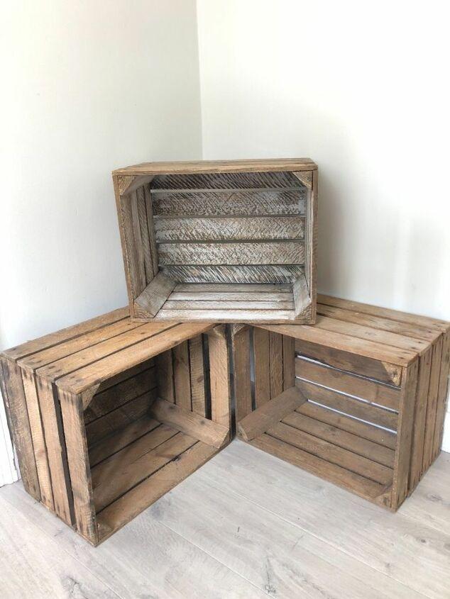 apple crates as storage
