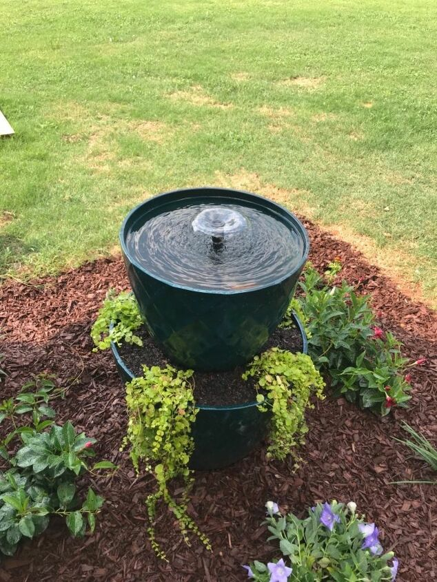 stacked planter fountain