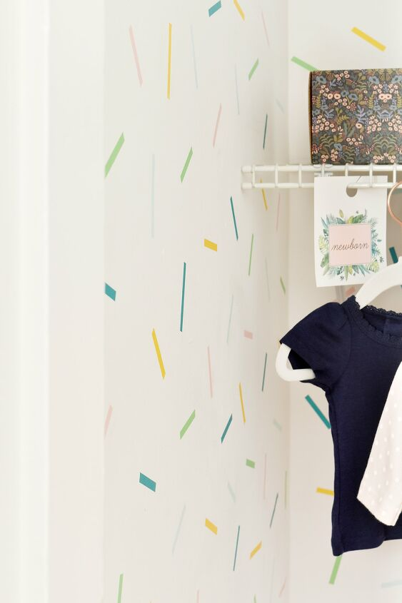 s 15 ways unexpected items are making these walls really stand out, A confetti washi tape closet