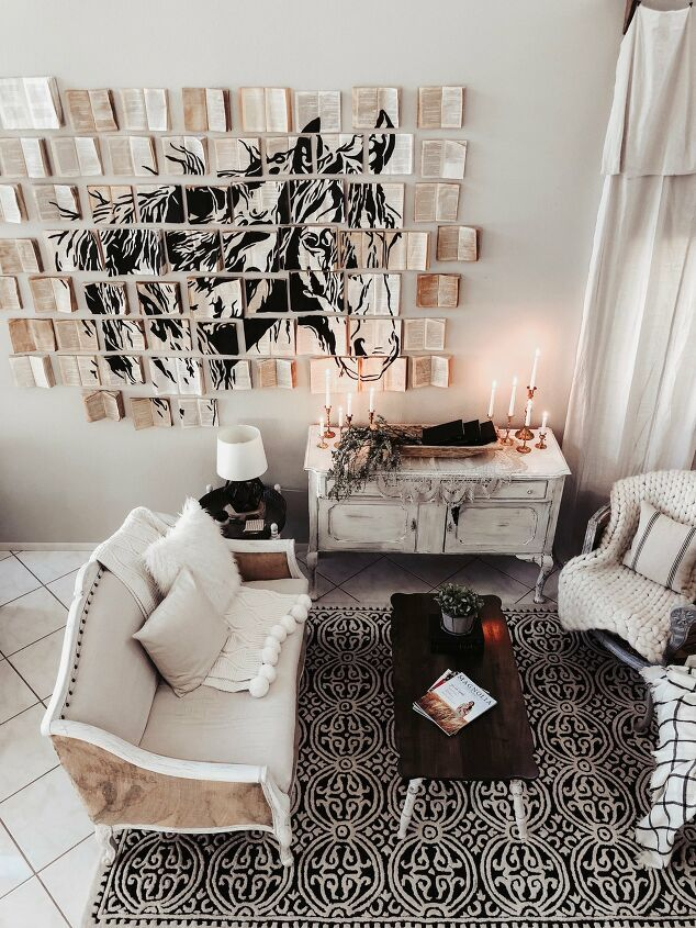 s 15 ways unexpected items are making these walls really stand out, Faux vintage book wall art